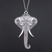 2017 New Women Men Jewelry Stuff Vintage Silver Tone Elephant Hand Pendant 30″ Long Necklace 4410 Free Shipping