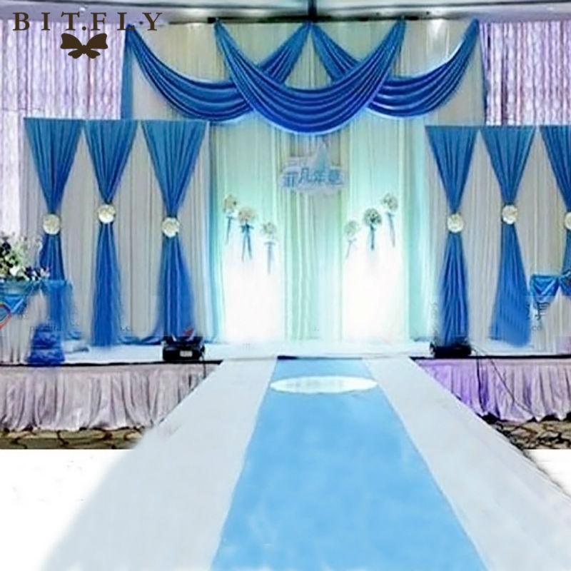 3pcs ice silk pleated wedding backdrop curtain decoration for Background curtain decoration