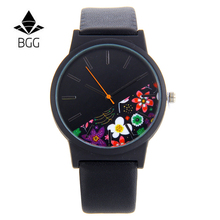 BGG новый стиль кантри кожа Для женщин кварцевые часы 2017 роскошный топ бренда цветочным узором дамы Повседневное часы женский платье часы