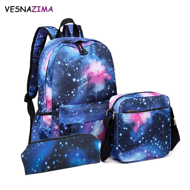 Fashion Women's Backpack Starry Star Printing Backpacks School Bag For Teenager Girls & Boy Pencil Case 3pcs Sets Mochila W710Z