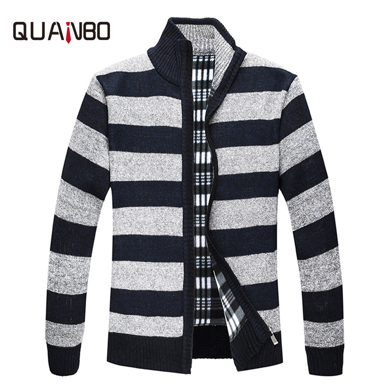 QUANBO 2018 New Arrival Autumn Winter  Men's Fleece Warm Sweaters Male Striped Casual Knitted Zipper Cardigan Brand Clothing