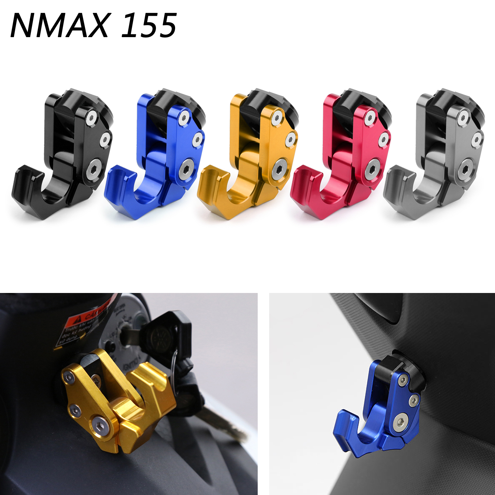 Areyourshop Carry Helmet Bottle Hanger Holder CNC Aluminum Alloy Hooks M6 For <font><b>Yamaha</b></font> NMAX 155 <font><b>NMAX155</b></font> RC150 For Honda Scoopy image