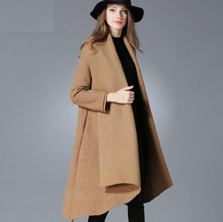 Шерстяные пальто зимние женские 2017 зимние куртки женские модные брендовые красный черный нерегулярные большие свободные теплая шерсть Тре
