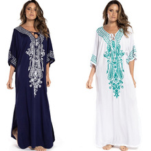 Embroidery Kaftan Beach Tunic Cotton Dress Cover Up Saida De Praia Swimsuit Women Bikini Beachwear Pareo Sarong