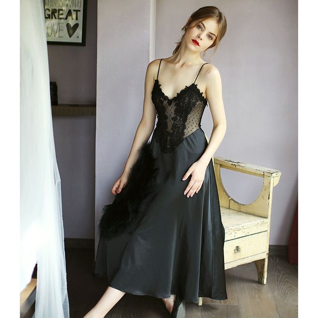8514fa13593d6 US $21.53 40% OFF|White Black Women Deep V Lace Silk Satin Lingerie Wedding  Long Night Dress Sleeveless Embroidery Nightgowns Ladies Sleepwear-in ...
