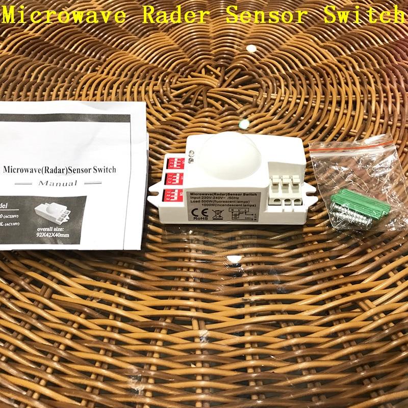 New Microwave Smart Motion Sensor Light Radar Switch Ceiling Recessed Wall Garage Control 220~240V AC 50HZ 360 Degree 500W CM093 large illumination area ul panel light 4 x1 1200x300mm hanging recessed wall surface mounting no gare soft flat light