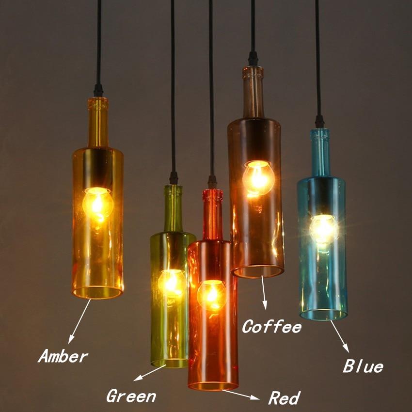 Us 34 2 5 Off Modern Art Stained Gl Pendant Lights Novelty Restaurant Cafe Bar Hanging Lamps Hotel Wine Bottle Home Lighting In