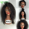 Luffy Hair 150 Density Glueless Full Lace Human Hair Curly Wigs For Black Women Lace Front Virgin Mongolian Afro Kinky Curly Wig