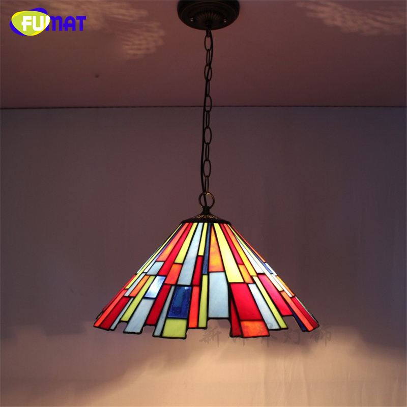 FUMAT Stained Glass Pendant Lamp Tiffany Style Lights For Living room Dining Kitchen Lampe Art LED Glass Shade Pendant Lamps fumat stained glass pendant lamps european style glass lamp for living room dining room baroque glass art pendant lights led