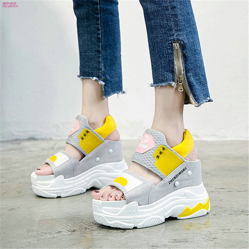 NAYIDUYUN New Women Wedges Platform Shoes Breathable Mesh High Heel Roman Gladiator Sandals Summer Party Shoes Punk Sneakers sandals women summer suede female gladiator roman 6cm wedges shoes