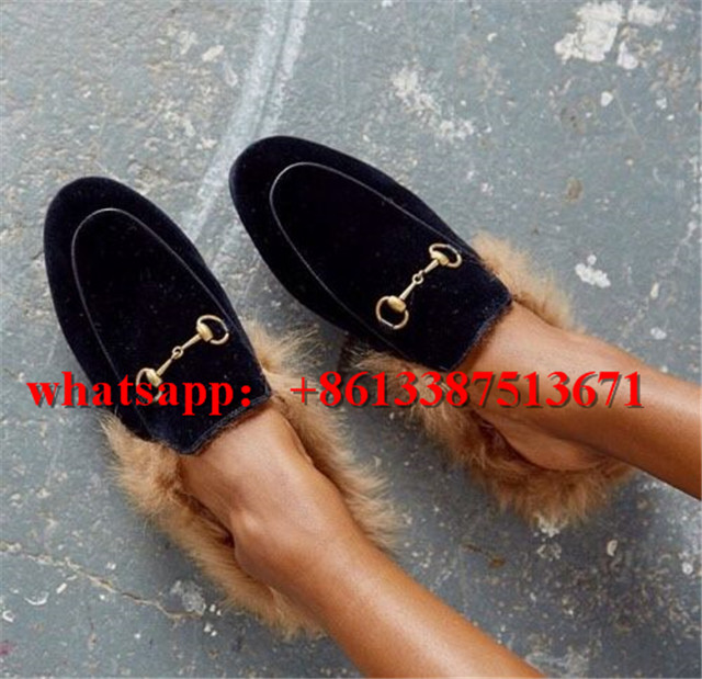Fashion Week Shoes Princetown Leather and Kangaroo Fur Slippers Gold Leather  Shearling Embroidered Flat Loafers Shoes Woman -in Slippers from Shoes on  ... 0871c381a27f