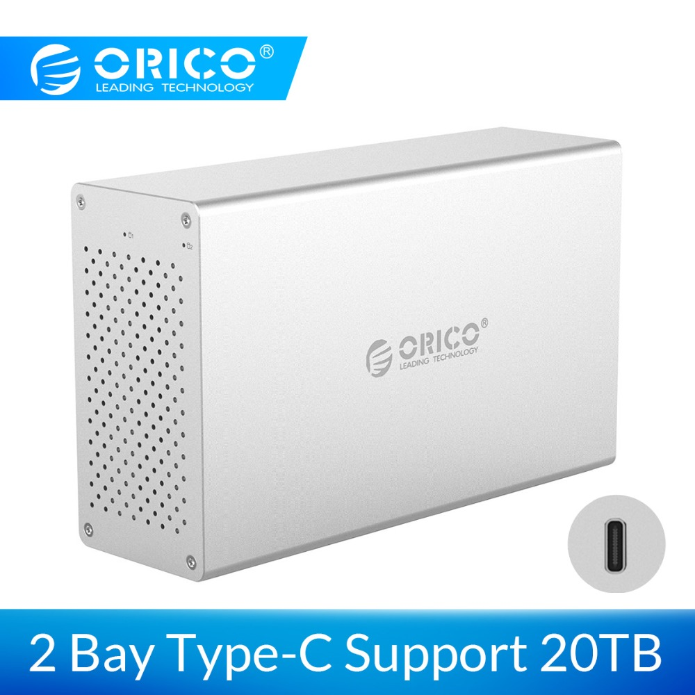 ORICO 2 Bay USB C Hard Drive Enclosure Aluminum Alloy Support 20TB storage 5Gbps 12V Adapter