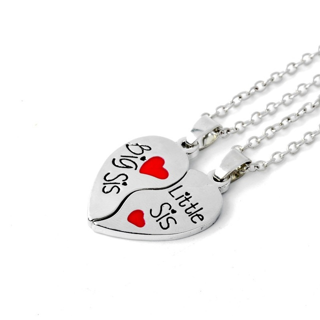 Broken Heart Necklace Big Sis Little For Sisters Or BFF The Twin Birthday Present Pendant