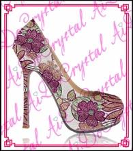 Aidocrystal frauen dünne absatzschuhe dame plattform sexy marke weibliche mode blumenmuster kristall pumpen heels schuhe