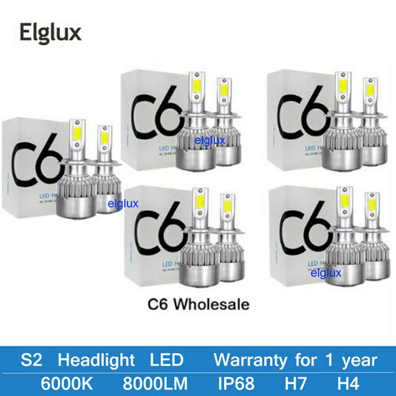 6000k Car Headlight Bulbs H1 H3 H7 H11 9005 9006 880 LED Car Lights H4 9004 9007 H13 Hi-Lo Beam Auto Headlamp Styling Lights