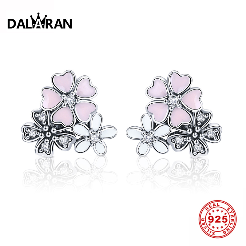 DALARAN DIY fantasy pink flower earrings 925 sterling silver ladies Valentines Day gift hundred matching accessories