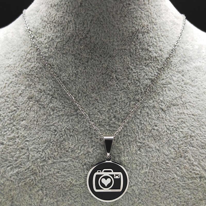 2019 nouvelle mode caméra en acier inoxydable collier de déclaration pour les femmes couleur argent pendentif collier bijoux joyeria N18692