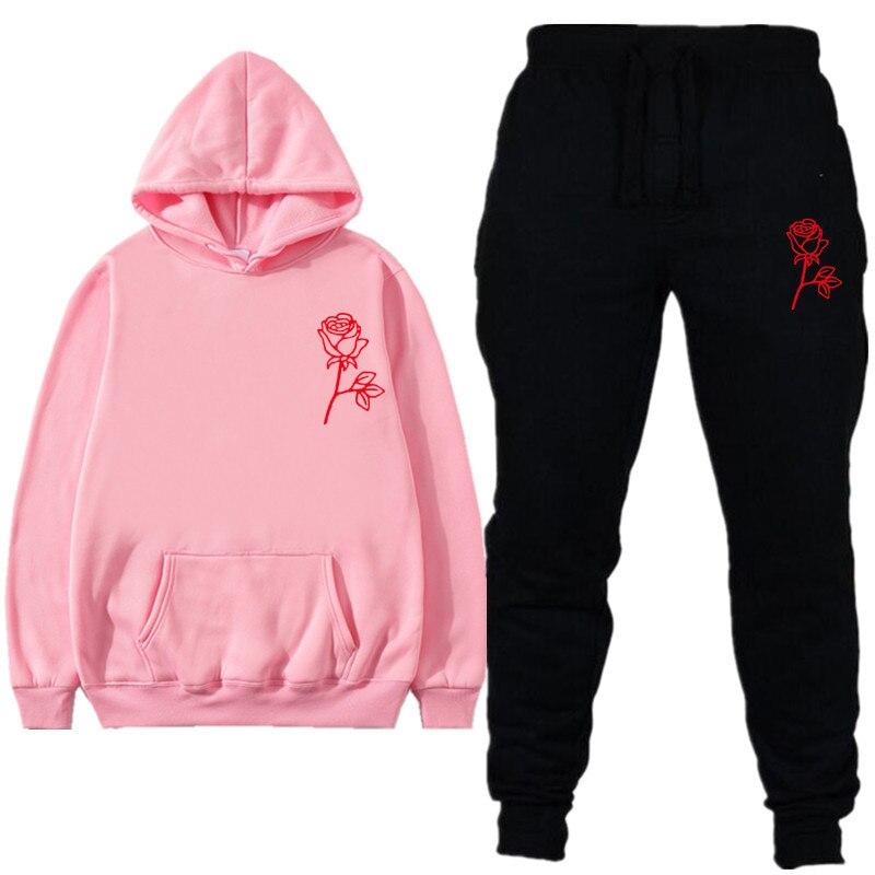 New Men Sporting Fleece Rose Hooded Brand-Clothing Casual Track Suit Men Women Fashion Hoodies+Pant Autumn Winter Sweatshirt