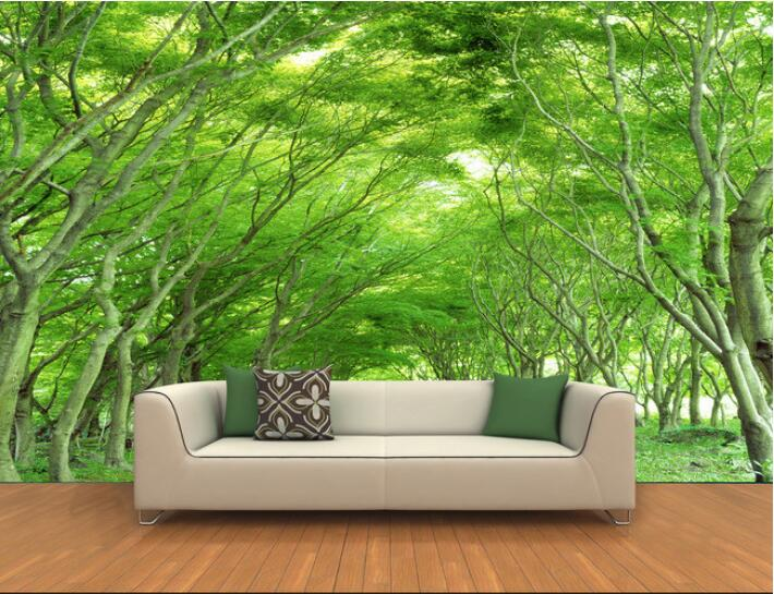 3d wallpaper custom mural non-woven wall sticker Wall stickers  3 d stand on both sides of the street trees   mural wall paper coloring of trees