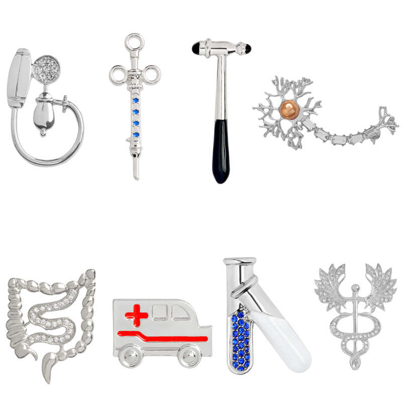 Metal Medical Pin Doctor Badge Test Tube Reflex Hammer Syringe Ambulance Blood pressure meter Neuron Caduceus Intestinal Brooch