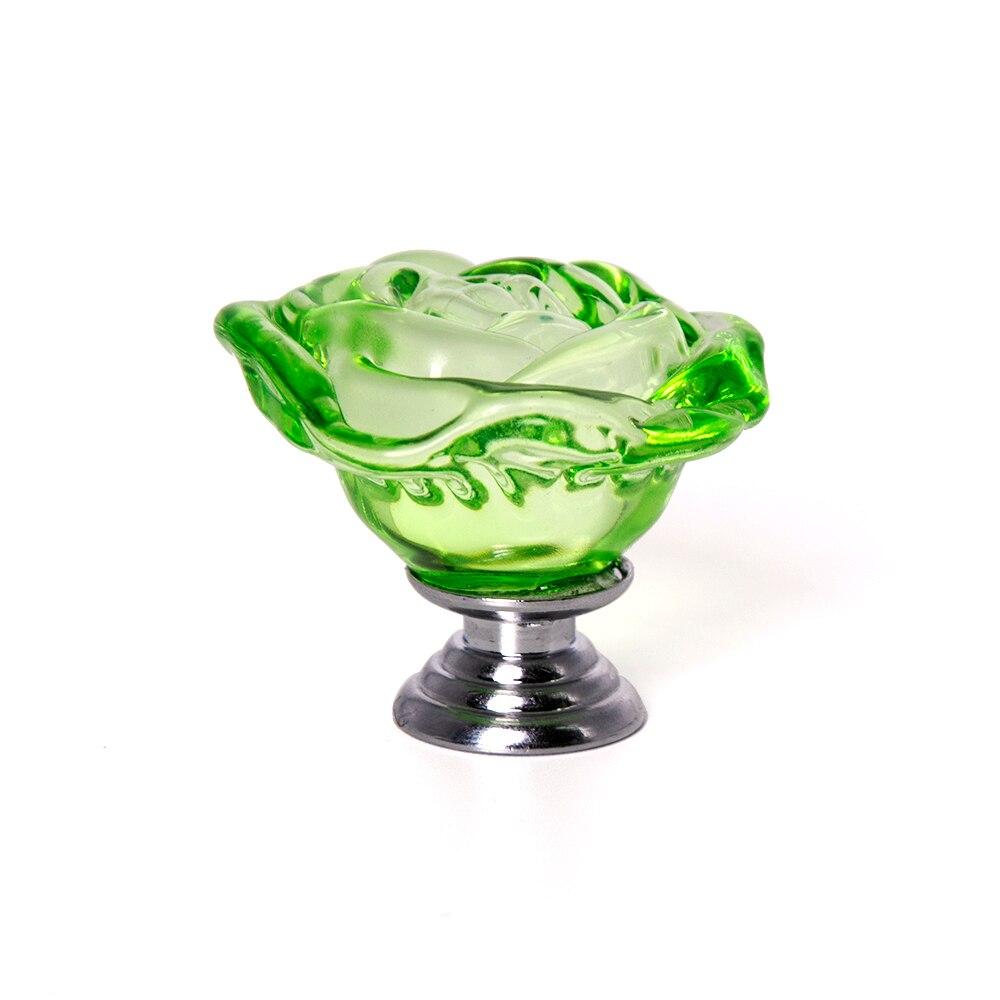 10 pièces 40mm pomme vert cristal Rose forme poignée alliage porte tiroir armoire matériel tirer boutons livraison gratuite