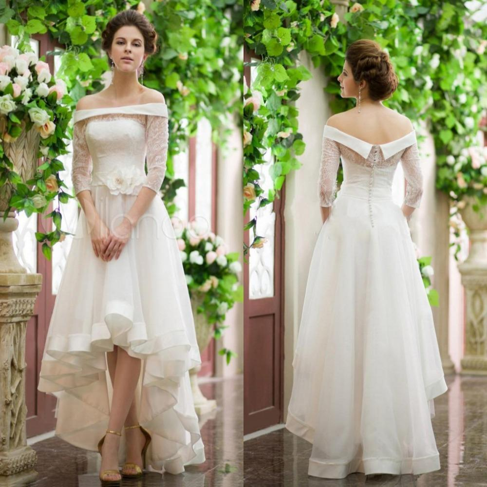 high low wedding dress with sleeves sleeves shoulder high low wedding dresses vintage 4792