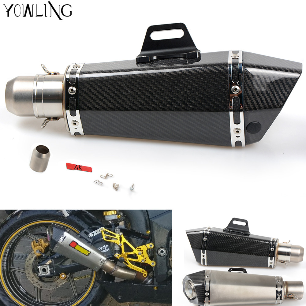 Motorcycle Real carbon fiber exhaust Exhaust Muffler pipe For Yamaha MT-07 MT07 MT 07 09 MT-09 FZ07 FZ09 Kawasaki NINJA 300 250 free shipping carbon fiber id 61mm motorcycle exhaust pipe with laser marking exhaust for large displacement motorcycle muffler