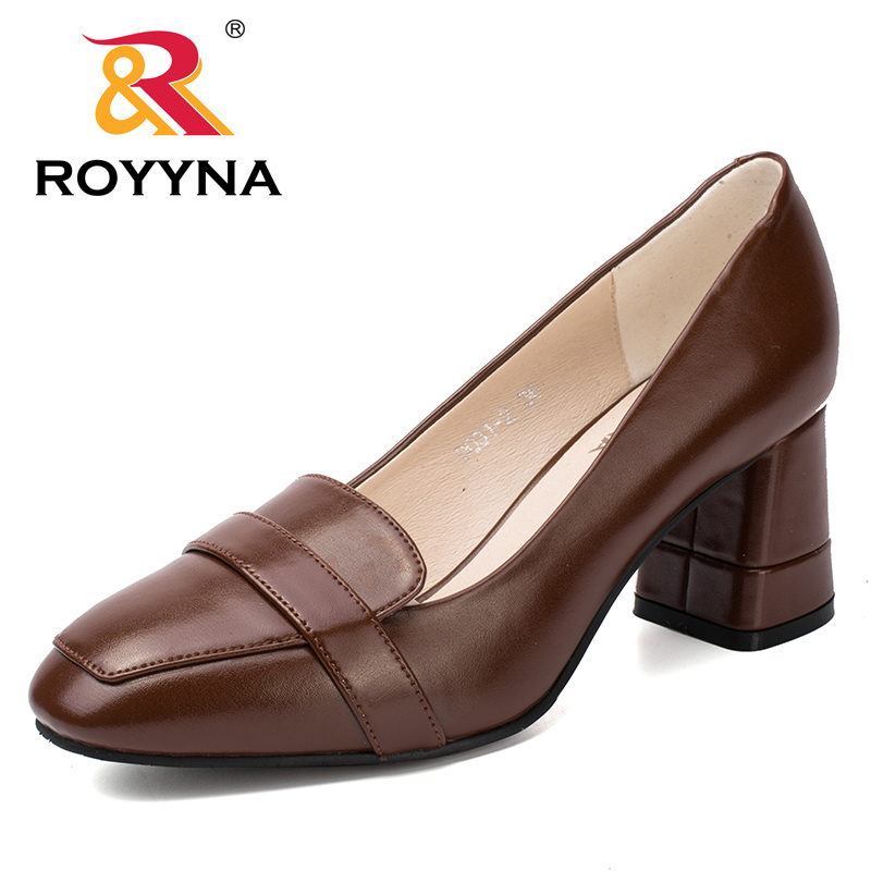 ROYYNA New Office Lady Style Women Pumps Square Toe Women Shoes Shallow Square High Heels Lady Wedding Shoes Fast Free Shipping siketu 2017 free shipping spring and autumn women shoes fashion sex high heels shoes red wedding shoes pumps g107