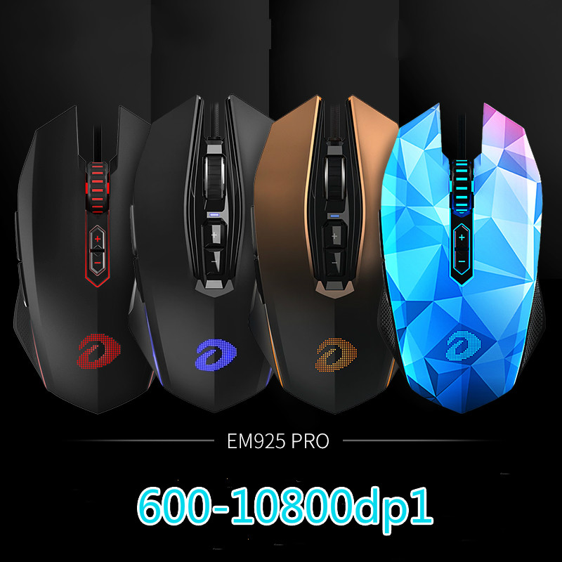 New Arrival DAREU EM925pro USB Optical Gaming Mouse 10800DPI 7 Buttons Computer PC Gamer Magic Mice With led Breathing Lights dare u wcg armor soldier 6400dpi 7 programmable buttons metab usb wired mechanical gaming mouse