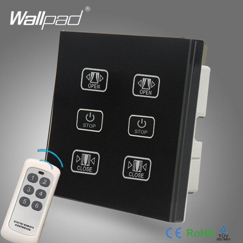 Free Customize Double Remote Curtain Switch Wallpad Black Glass 6 Gangs Control 2 Curtain Window Blind Wireless Remote Switch abcnovel multifunction wireless 2 4ghz flip over switch task window laser pen black 1 x aaa