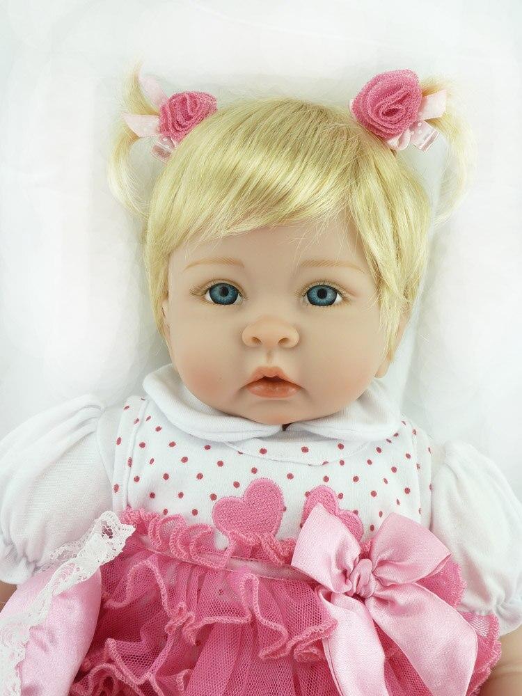 Reborn bébé poupée 22 pouces 55 cm Silicone vinyle fille poupée cheveux blonds doux tissu corps vivant enfant en bas âge bébé noël cadeau pour les enfants - 5