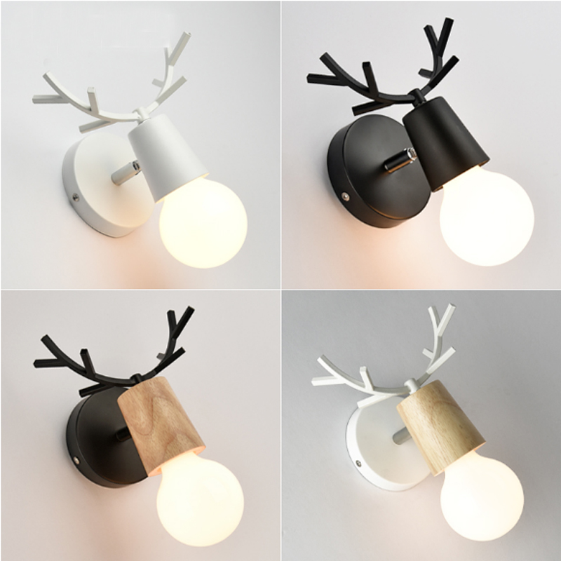 Modern creative wall lamp simple hallway stairs antlers wall sconce study bedroom bedside lamp aisle bathroom mirror wall light simple modern american country retro mirror front wall light creative bedside bedroom living room study long arm wall lamp