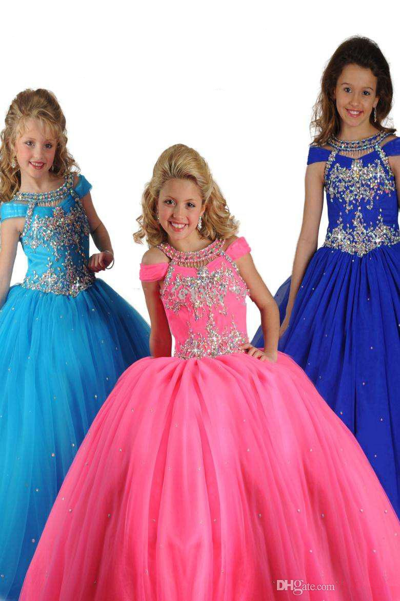 Beads Flower Girl Dresses Halter  Girl's Pageant Dresses Kids Party Prom Dresses Ritzee Girls long Dress
