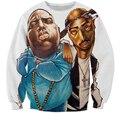 Chegam novas Dos Homens Das Mulheres do Hip hop 2pac Tupac Biggie Smalls Notorious B.I.G hoodies outerwear camisola treino pullovers do hoodie
