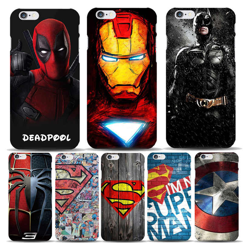 Marvel Hero Captain America Shield Deadpool Superman Case Capinhas For Apple iPhone 8 7 6 6S Plus 5S SE Slim Hard Covers Batman
