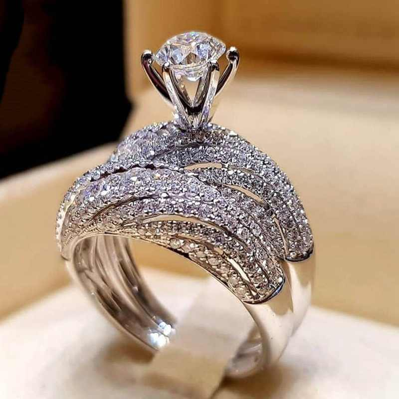 2019 Luxury Fashion Woman Silver Color Shining Full Crystal CZ Couple Rings 2pcs Female Engagement Wedding Rings Set 5-12 Size
