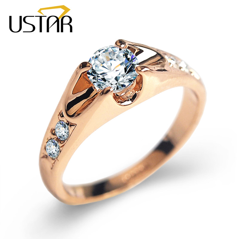 USTAR Top quality Austria Crystals wedding Rings for women Rose Gold color ..
