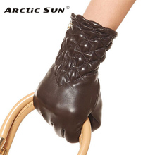 Winter Genuine leather gloves womens black wrist lambskin lady driving EL005NC ELMA