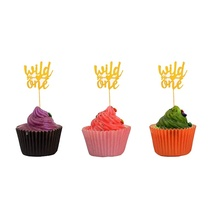 10pcs Gold Glitter Wild One First Happy Birthday boy girl oh Baby Cake Cupcake Toppers Kids Party baby shower Decoration