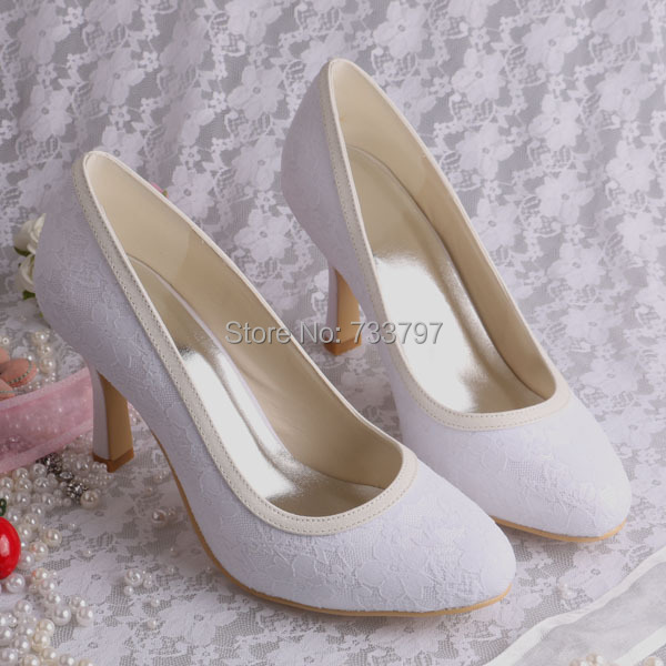 Wedopus MW064 Mid heel White Lace Bridal Shoes Women Fabric Pumps