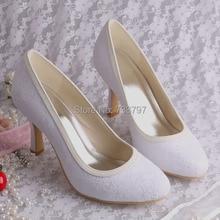 Wedopus MW064 Среднего пятки Белые Кружевные Свадебные Туфли Женщины Ткань Насосы Размер 10 Невесты обувь