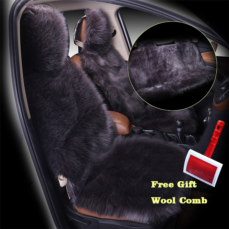 3pcs/set Deep Grey Color Front and Back Car Seat Cover Furry Fluffy Thick Faux Plush Warm Pad Styling Universal