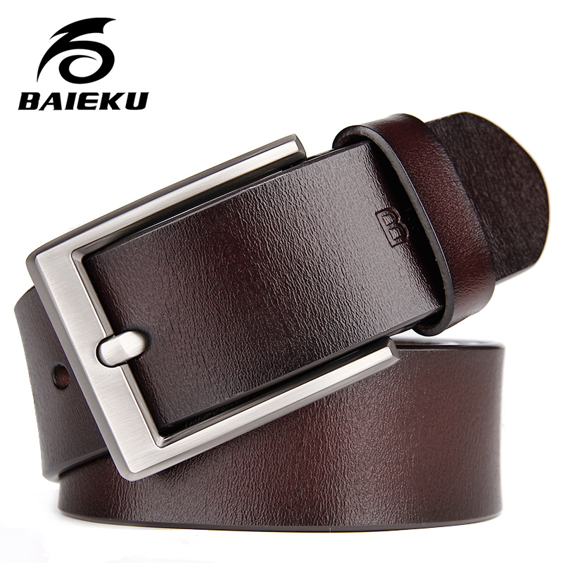 BAIEKU genuine leather   belt   for men Casual fashion jeans accessories   belts   Male pin buckle high quality 105-140cm long