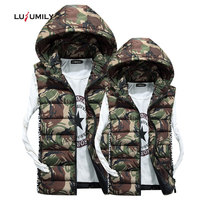 Lusumily New Camouflage Vest Winter Women Sleeveless Jacket Casual Women's Removable hooded Lovers Gilet Female Camo Waistcoat
