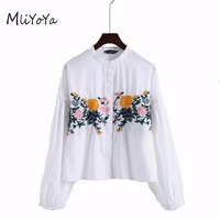 MLIYOYA Fashion Floral Embroidery Shirts Women White Long Sleeve Turn Collar Blouses 2017 Spring New Lady
