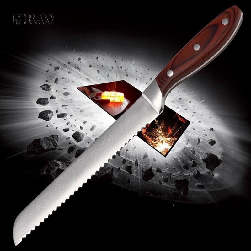 2016 Brand Top Quality Damascus font b Knife b font 8 inch Bread font b Knife