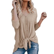 8e67741b Women Waffle Knit Tunic Blouse Tie Knot Henley Top Loose Fitting Bat Wing  Plain Shirt Button