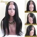 7A Brasileña de Yaki U Parte Peluca Medio/Izquierda/Derecha U Humana Parte Peluca de pelo Yaki Glueless U Parte Pelucas de Pelo Humano Con El Bebé pelo