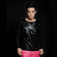 HOT !! Free shipping Men's fashion singer dance all match . male ds paillette slim t shirt men costumes clothing coat / XS XXL