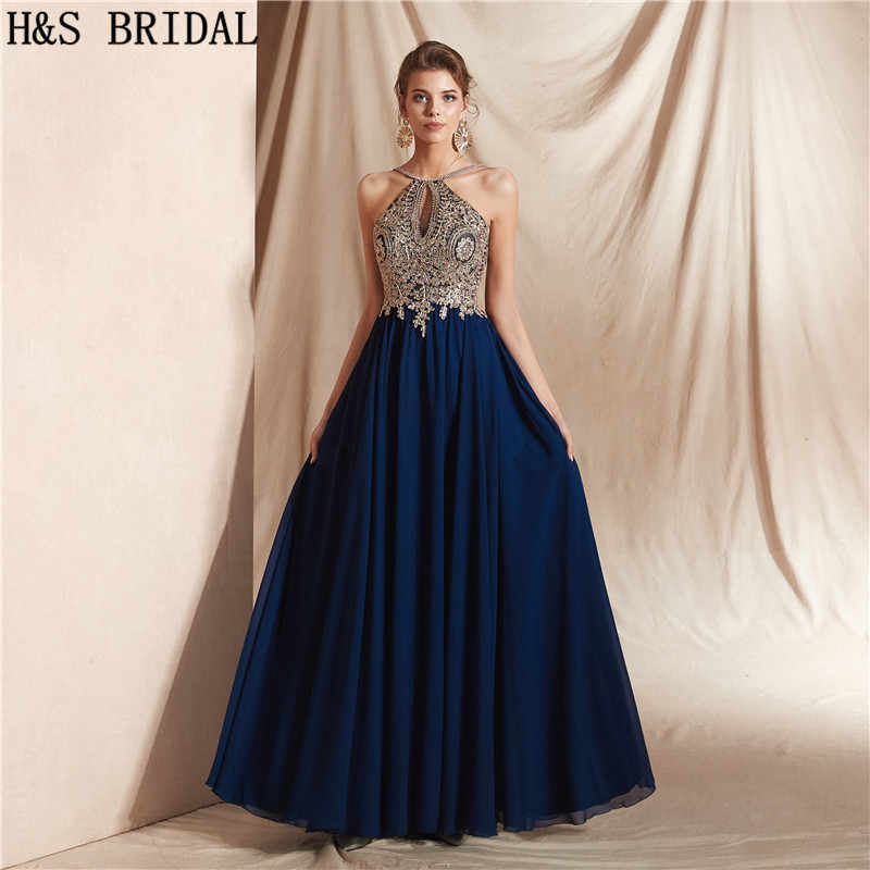 c7ad81d0e3b H S BRIDAL Women Formal Dress Long Royal Blue Chiffon Evening Dresses Gold  Appliques prom dresses vestido